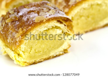 Pastry roll with almond paste, close up