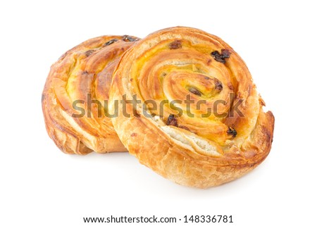 Pastry swirl isolated against white background - stock photo