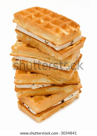 Pastry Viennese wafers, isolated on white background - stock photo