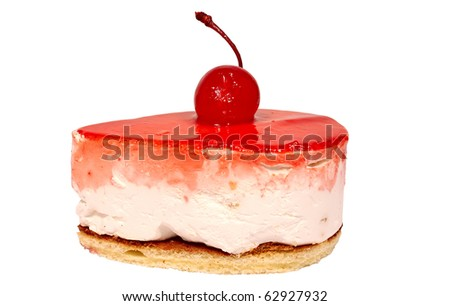 Pastry with cherry isolated on white background - stock photo