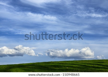 Pasture field and sky, Webster County, West Virginia, USA - stock photo