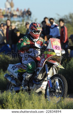 PATAGONIA, ARGENTINA - JANUARY 04: A Motorcycle in the Rally DAKAR Argentina - Chile 2009. January 04, 2009 in La Pampa, Argentina - stock photo