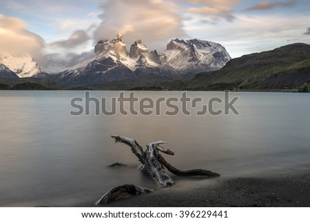 PATAGONIA, CHILE - JANUARY 1, 2016 - Sunrise over Horns of Paine and Lake Pehoe, Torres del Paine National Park, Patagonia, Chile