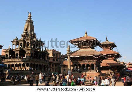 Patan - ancient city in Kathmandu valley. Nepal - stock photo