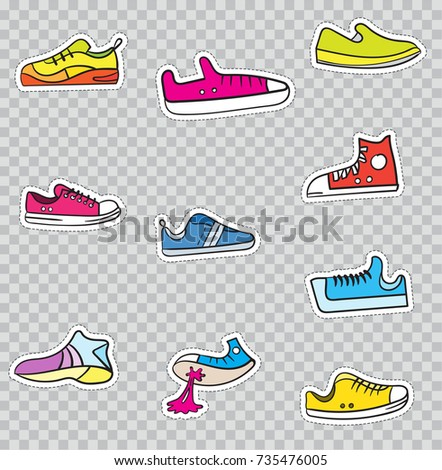 Patch Badges with Shoes and Sneakers. Raster illustration isolated on transparent background. Set Pack of stickers, pins, patches in cartoon 80's - 90's comic style.