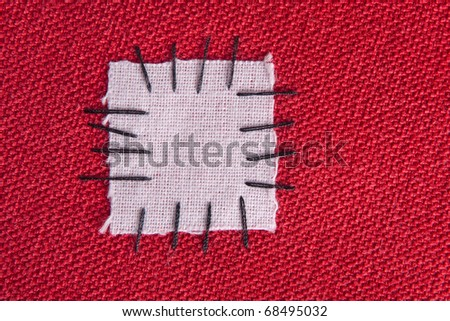 Patched cloth background - make do and mend concept - stock photo