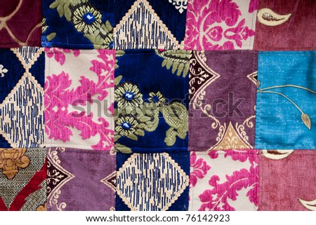 Patchwork background fabric - stock photo