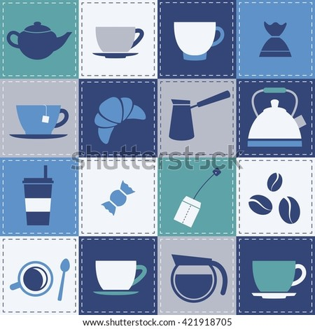 Patchwork background with coffe and tea cup icons. Raster version - stock photo