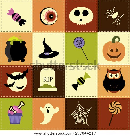 Patchwork background with Halloween elements. Raster version - stock photo