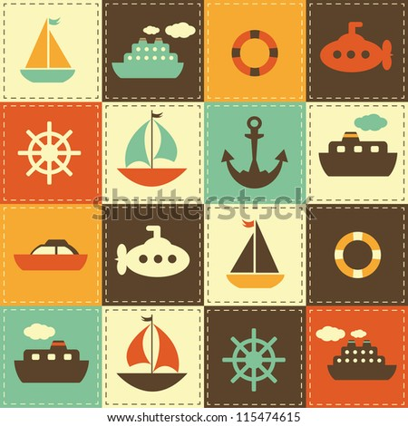 patchwork background with sea transport, raster version - stock photo