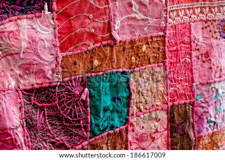 Patchwork fabric at an Indian market - stock photo