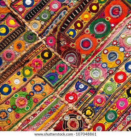 Patchwork quilt in Jaisalmer India - stock photo