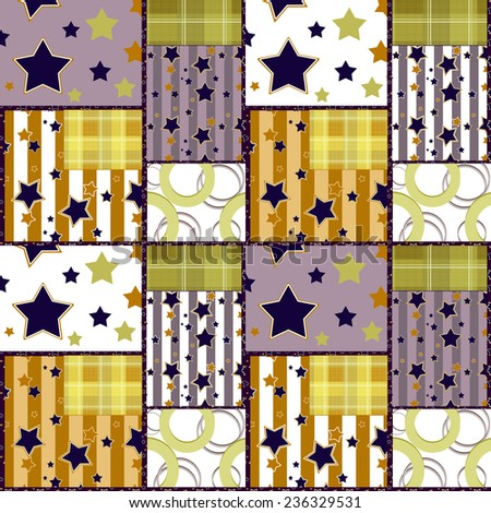 Patchwork seamless bright retro checkered stars pattern background  - stock photo