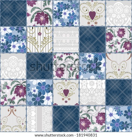 Patchwork seamless floral lace pattern background - stock photo