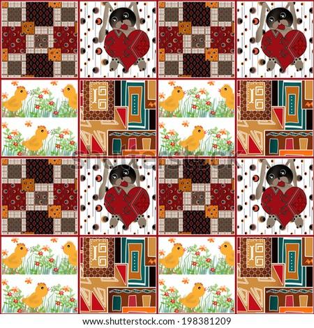 Patchwork seamless retro pattern background  - stock photo