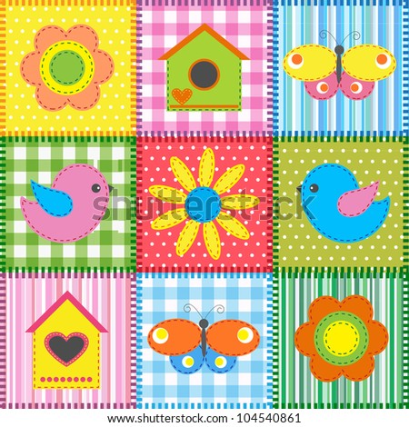 Patchwork with birds and birdhouses.Raster version - stock photo