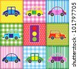 Patchwork with cartoon cars.Raster version - stock photo