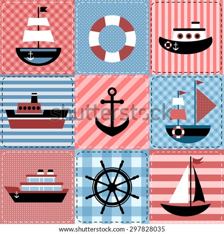 Patchwork with sea transport. Raster version - stock photo