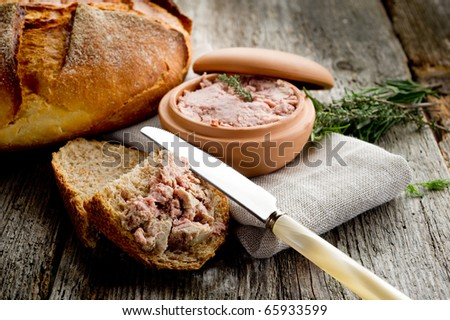 pate' de campagne with homemade bread - stock photo