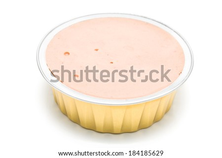 Pate in a open aluminum can isolated on white - stock photo
