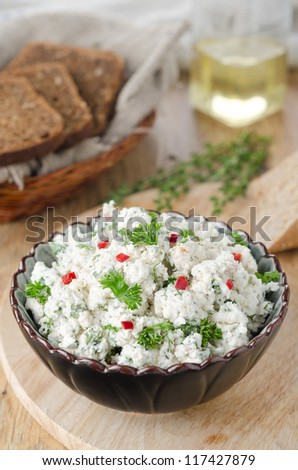 pate of cottage cheese with herbs and chili