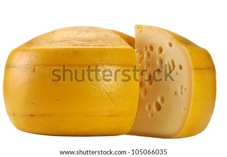 Pategras - Gouda Cheese isolated on white, with portion and holes