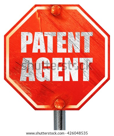 patent agent, 3D rendering, a red stop sign - stock photo