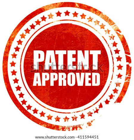 patent approved, red grunge stamp on solid background - stock photo
