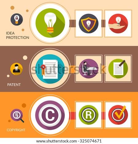 Patent idea protection horizontal banner set with copyright flat elements isolated  illustration - stock photo