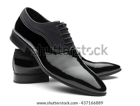 Patent Leather Men Shoes Isolated - stock photo