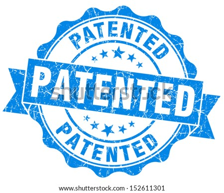 patented grunge blue stamp - stock photo