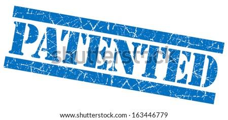 Patented grunge blue stamp - stock photo