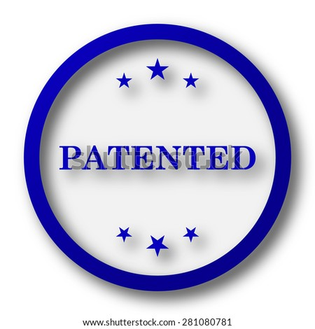 Patented icon. Blue internet button on white background.  - stock photo