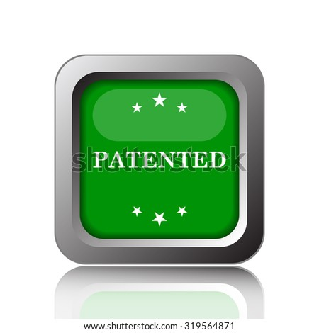 Patented icon. Internet button on black background.