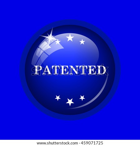 Patented icon. Internet button on blue background. 
