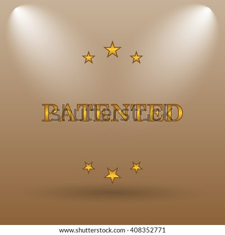 Patented icon. Internet button on brown background. - stock photo