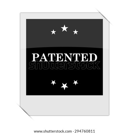 Patented icon within a photo on white background  - stock photo