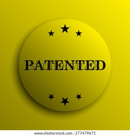 Patented icon. Yellow internet button.  - stock photo