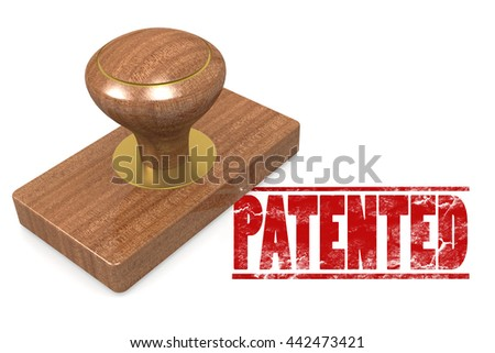 Patented wooded seal stamp image, 3D rendering - stock photo