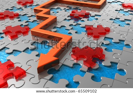 Path across puzzle labyrinth - stock photo