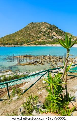 Path along a beach at Punta Molentis bay, Sardinia island, Italy  - stock photo