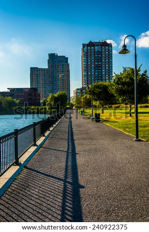 Path at North Point Park and buildings in Boston, Massachusetts. - stock photo