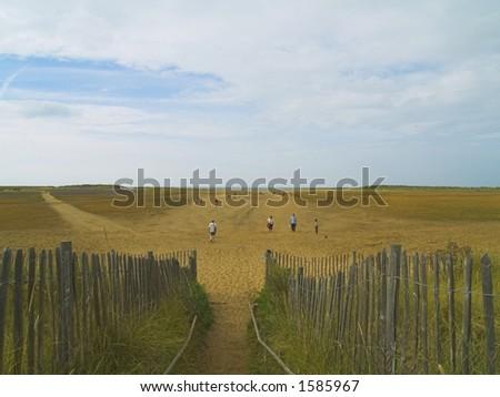 Path down to Holkham Beach - stock photo