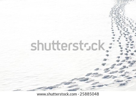 Path from traces on snow - stock photo