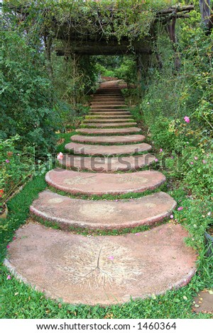 Path in a Thai public garden - stock photo