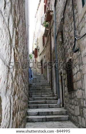 Path in Dubrovnik, Croatia. - stock photo
