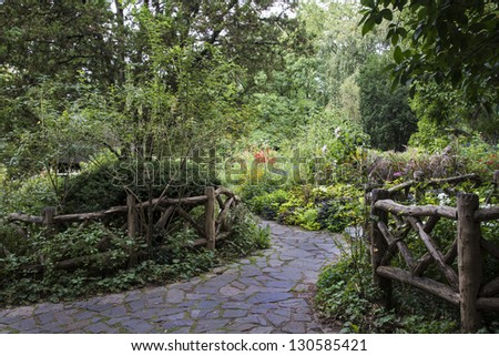Path in garden in Central Park, New York City - stock photo