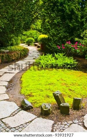 Path in Japanese garden - stock photo