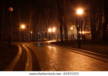path in the night park - stock photo