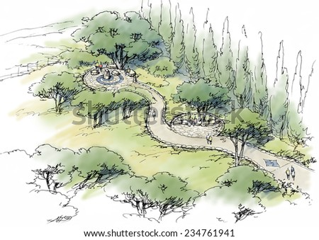 path in the park - stock photo